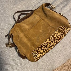 Brown Suede and Leopard Print Leather Purse